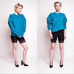 ❌SOLD❌Vintage 80s teal blue chunky boxy sweater